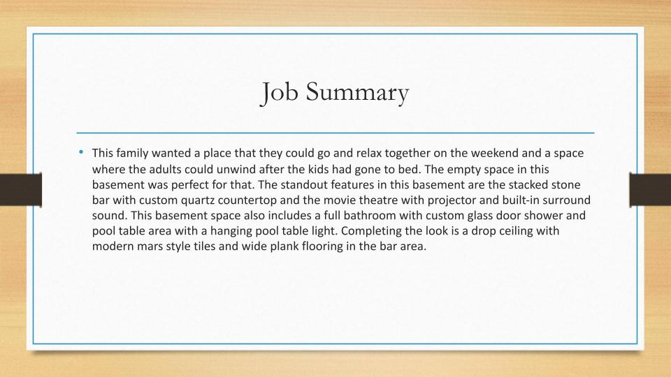 Home Remodeling Milwaukee Job Summary